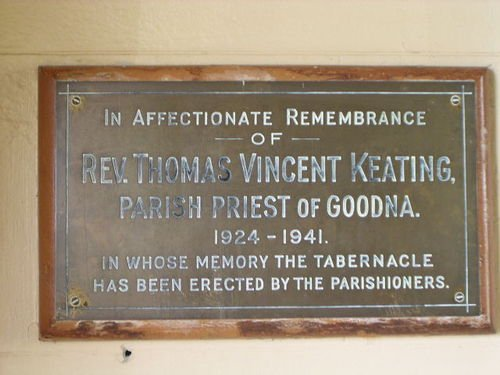 Reverend Keating Plaque