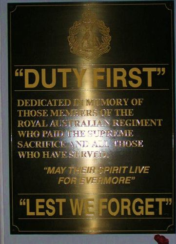 Royal Australian Regiment Plaque