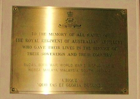 Royal Regiment of Australian Artillery Plaque