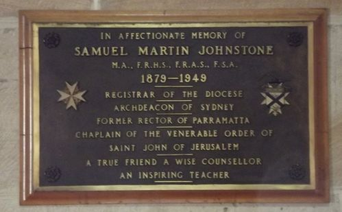 Samuel Johnstone Plaque : March 2014