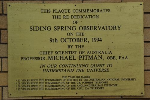 Siding Springs Plaque : July 2014