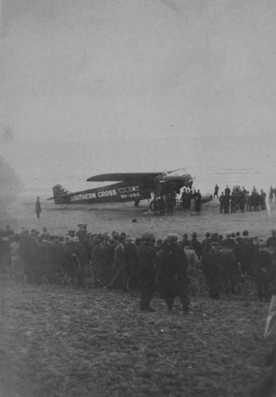23-June-1930 : Southern Cross on Portmarnock Beach,Co Dublin, Ireland taken by Bill Goodey