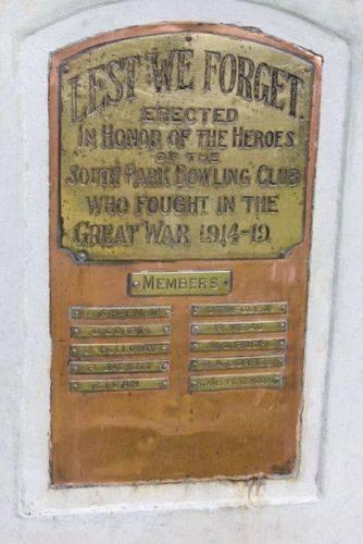 South Park Bowling Club War Memorial : 07-December-2012