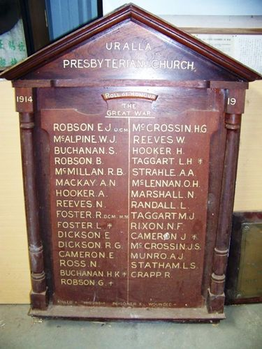 St David`s Church Wooden Honour Roll
