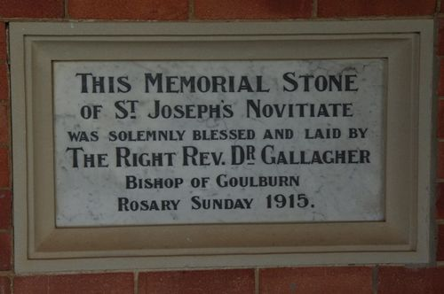 St Joseph`s Novitiate Memorial Stone : June 2014