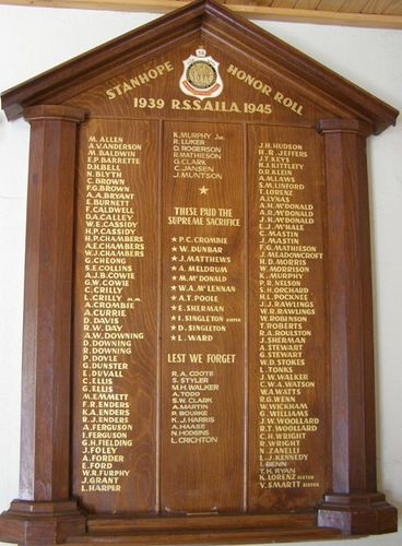 Stanhope Honour Roll : 25-04-2014