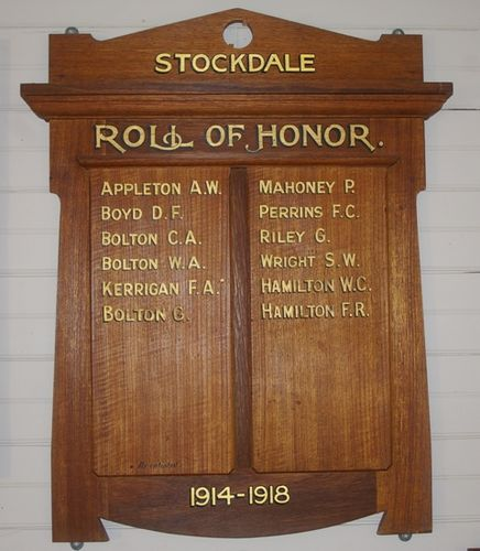 Stockdale WW1 Honour Roll : 13-06-2005