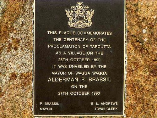 Tarcutta Town Proclamation Inscription