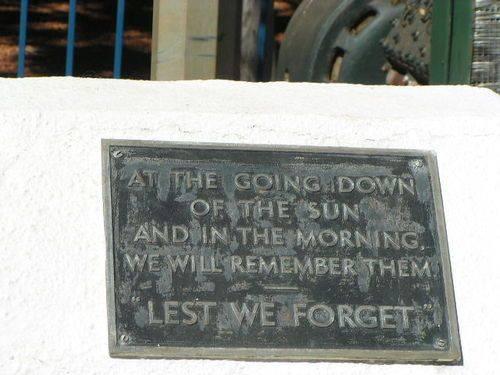 Tennant Creek War Memorial Old Dedication