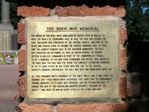 Toowoomba Boer War Memorial Plaque