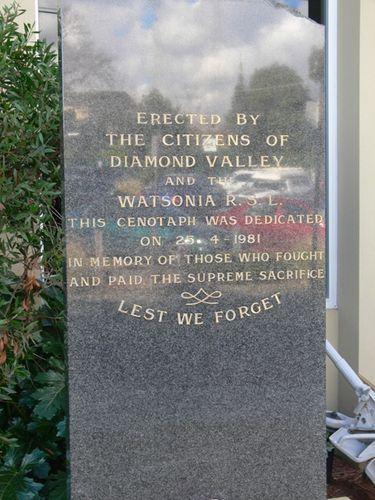 Watsonia Cenotaph : 10-August-2012