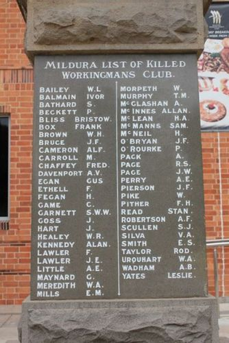 Workingmans Club War Memorial : 08-December-2012