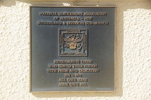 National Service Plaque at Woronora War Memorial