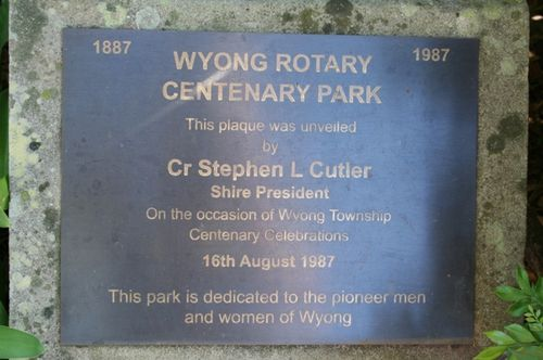 Wyong Pioneers Plaque : 12-03-2014