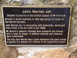 John Warren Jnr Plaque