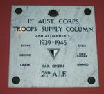 1st Australian Corps Troops Supply Column and Attachments Plaque