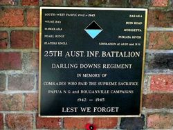 25th Battalion WW2 Plaque : 2009