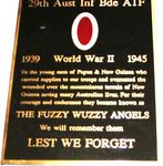 29th Brigade Fuzzy Wuzzy Angels Plaque
