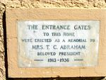 Abraham Memorial Gates Plaque