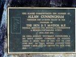 Allan Cunningham Plaque