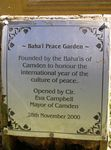 Peace Garden Plaque : 16-June-2014