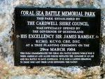 Battle of Coral Sea Memorial Park Plaque