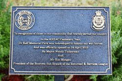 Dedication Plaque: 25-September-2016 (Roger Johnson)