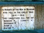 Brandon War Memorial Insc WW1