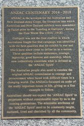 ANZAC Centenary Plaque : 16-March-2015