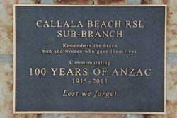 Anzac Centenary Plaque : 15-June-2015