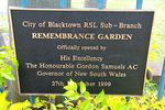 Remembrance Garden Plaque : Feb 2014