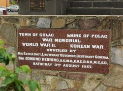 WW2 + Korea Dedication Plaque : 17-April-2015