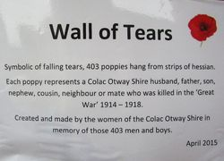Wall of Tears Plaque : 17-April-2015