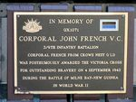 Corporal John French VC PLaque
