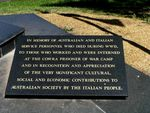 Cowra Australian Italian Friendship Memorial Inscription Plaque
