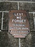 Dutton Park War Memorial RSL plaque