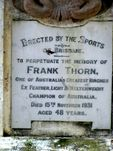 Frank Thorn Memorial Inscription