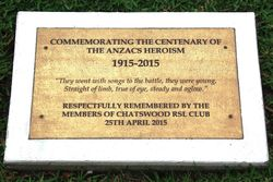 Centenary of ANZAC Plaque: 24-January-2016