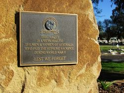 Australia Remembers Plaque: 10-July-2016