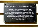 Maidenwell Memorial Hall Plaque : 30-07-2009