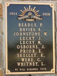 WW1 Plaque : 30-April-2015