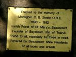 Monsignor Steele Plaque