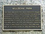 Mulbeam Park Plaque