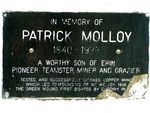 Patrick Molloy Inscription Plaque