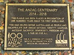 Anzac Plaque : 26-May-2015